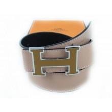 Hermes Pink Belt With Dark Brown H Logo 003