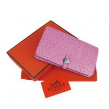 Hermes Pink Leather Ostrich Veins Dogon Wallet H001