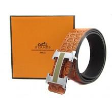 Light Brown Hermes Crocodile Belt With Silver Black H Buckle H20020