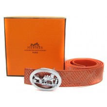 Orange Hermes Crocodile Belt With Silver Buckle H10027