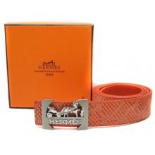 Orange Hermes Crocodile Belt With Silver Buckle H10028