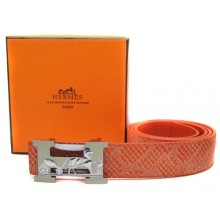 Orange Hermes Crocodile Belt With Silver Buckle H10029