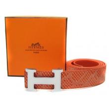 Orange Hermes Crocodile Belt With Silver Buckle H10036