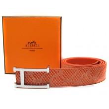 Orange Hermes Crocodile Belt With Silver Buckle H10041