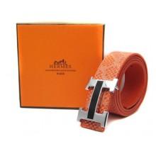 Orange Hermes Crocodile Belt With Silver Buckle H10048