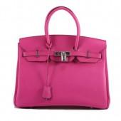 Hermes Birkin 35CM Smooth Leather Handbag 6089 Rose Silver
