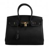 Hermes Birkin 35CM Togo Leather Handbag 6089 Black Golden