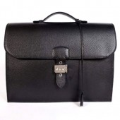 Hermes Sac Depeche 38cm Briefcase Clemence Black