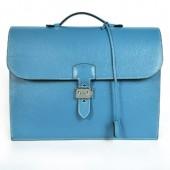 Hermes Sac Depeche 38cm Briefcase Clemence Blue