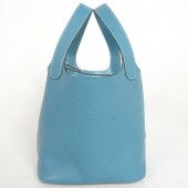 Hermes picotan MM Bag clemence leather in Medium Blue