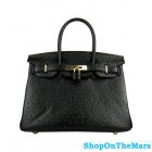 Hermes Black Birkin 30cm Ostrich Leather Bag Gold Hardware