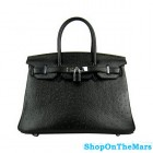 Hermes Black Birkin 30cm Ostrich Leather Bag Silver Hardware