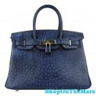 Hermes Navy Blue Birkin 30cm Ostrich Leather Bag Gold Hardware