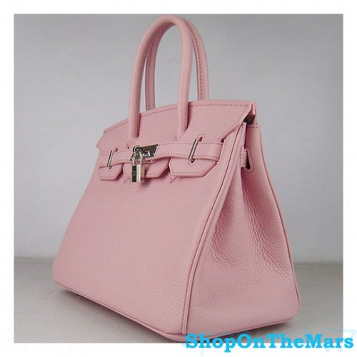 e3dd42126307 Hermes Pink Birkin 30CM Bag Clemence Leather With Silver HardWare