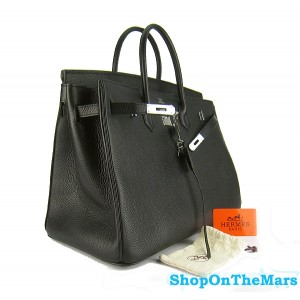 Hermes Black Birkin 40CM Bag Clemence Leather With Silver HardWare