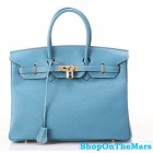 Hermes 1:1 Design Birkin Clemence Leather Bag Blue Jeans