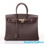 Hermes 1:1 Design Birkin Clemence Leather Bag Coffee
