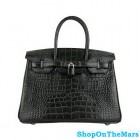 Hermes Black Birkin 30CM Bag Crocodile Leather With Silver HardWare