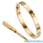 Cartier Original Design Rose Gold Plated Love Bracelet with Four Diamonds