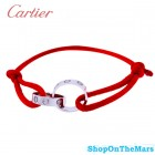 Cartier 18K Platinum Plated Love Red Rope Bracelet With Diamonds