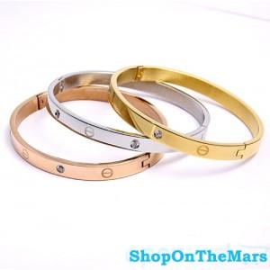 Cartier 18 K Gold Rose / Gold Plated / Platinum Love Bracelet With Diamonds