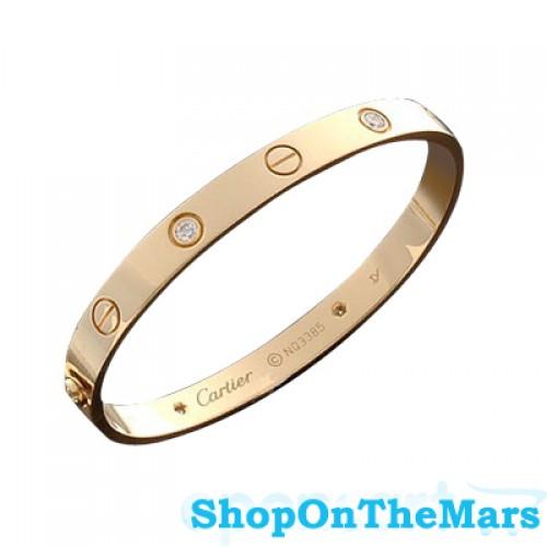 24c06e30f4a Cartier 18 K Gold Rose / Gold Plated / Platinum Love Bracelet With Diamonds