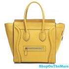 Celine Mini Luggage Calf Leather Yellow Bag Rare