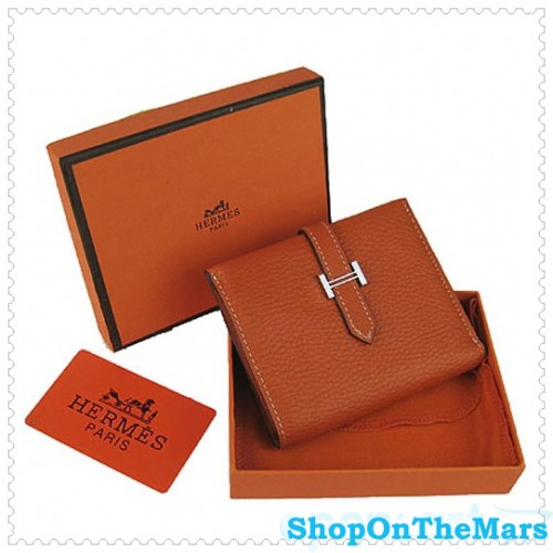 50ee7865dd Hermes Bearn Mini Gusset Purse Clemence Leather Orange