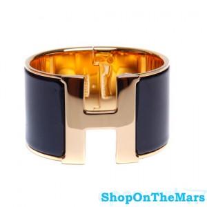 Hermes 1.5Inch Clic-Clac H Wide Bracelet Gold With Black Enamel