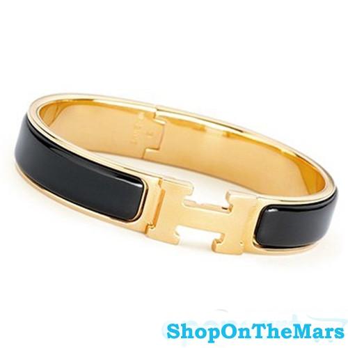 Hermes Gold Plated Clic Clac H Narrow Bracelet Black Enamel
