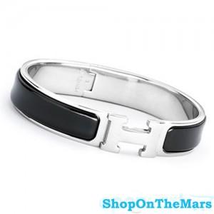 Hermes Sterling Silver Clic Clac H Narrow Bracelet Black Enamel