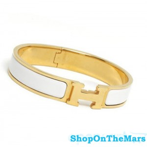 Hermes Gold Plated Clic Clac H Narrow Bracelet White Enamel