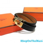 Hermes Kelly Double Tour Leather Bracelet Black With Gold HW