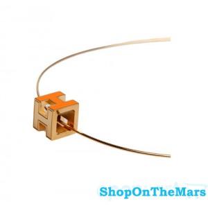 Hermes H Cube Orange Enamel 14K Gold Choker Necklace