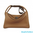 Hermes Lindy Handbag Clemence Leather Brown with PHW