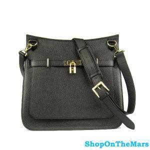Hermes Jypsiere Black Unisex Leather Shoulder Bag Gold Hardware