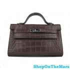 Hermes 22CM Kelly Mini Clutch Pochette Crocodile Dark Coffee Bag