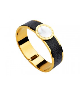 Bulgari-Bvlgari Wide Band Bangle in 18kt Yellow Gold and Black Leather with Mother of Pearl