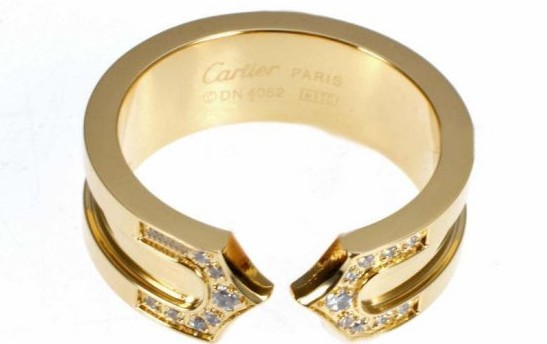 0f8a69dee8626 Cartier 14K Yellow Gold Plated Double C Decor Ring with Diamond ...