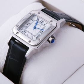 fb48e541da246 Cartier Santos 100 Stainless Steel Black Leather Strap Mens Watches fake