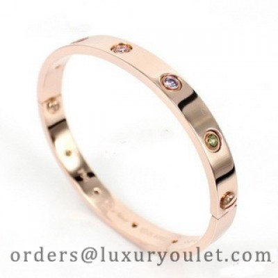Cartier LOVE Bracelet in 18k Pink Gold With Coloured Stones