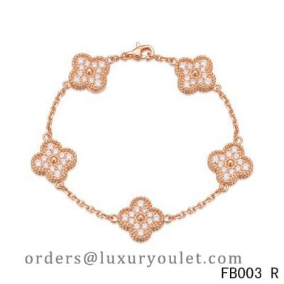 28a6fd9c23d777 Van Cleef & Arpels Vintage Alhambra Bracelet Pink Gold with 5 Diamond Motifs