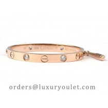 Cartier 18kt Pink Gold LOVE Bangle with 4 Diamonds for Men