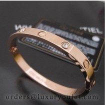 Cartier Oval Pink Gold Love Bracelet With Diamond,Narrow