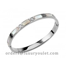 Cartier 18kt White Gold Love Bangle with Mother of Pearl