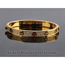 Cartier Yellow Gold Love Bracelet With Paved Diamonds+Free Screwdriver