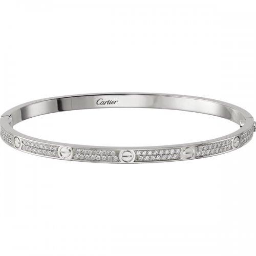 cheap fake Cartier Love Bracelet White Gold SM Set With Brilliant-Cut Diamonds N6710817