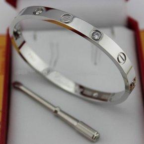 Cartier Love bracelet white gold 4 diamonds replica B6035816