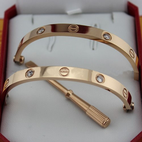 Cartier Love bracelet pink gold 4 diamonds replica B6036016