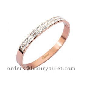 Cartier Bangle in 18kt Pink Gold with Pave Diamonds-NEW